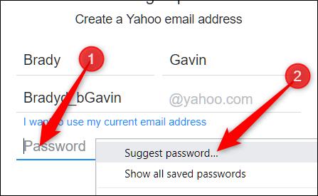 """Cliquez avec le bouton droit sur le champ de mot de passe vide, puis cliquez sur """"Suggérer un mot de passe."""""""