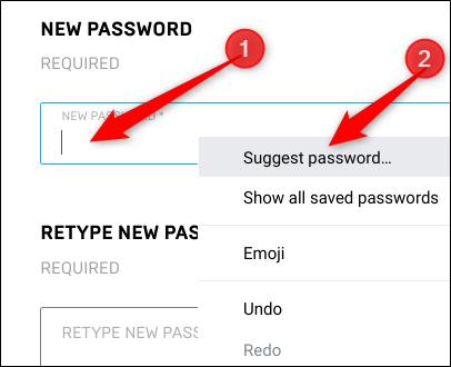 """Cliquez avec le bouton droit dans le champ du mot de passe, puis cliquez sur """"Suggérer un mot de passe."""""""