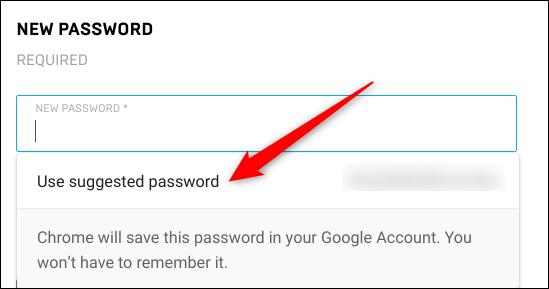 """Cliquez sur """"Utilisez le mot de passe suggéré."""""""