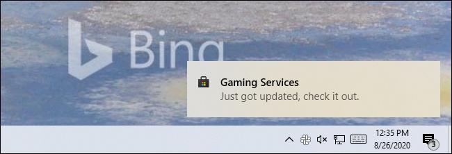 """Une notification Store sur Windows 10 indiquant une application """"Je viens d'être mis à jour, vérifiez-le."""""""