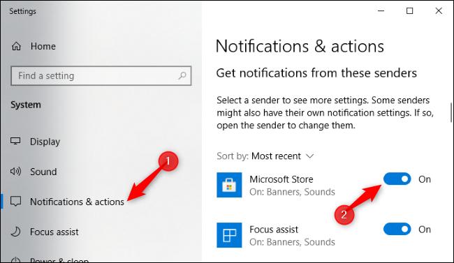 Désactivation des notifications du Microsoft Store dans l'application Paramètres.