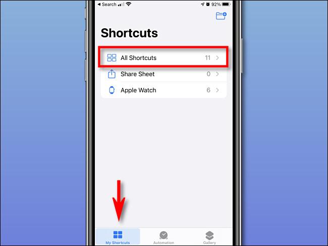 """Robinet """"Mes Shorcuts"""" et """"Tous les raccourcis"""" sur iPhone."""