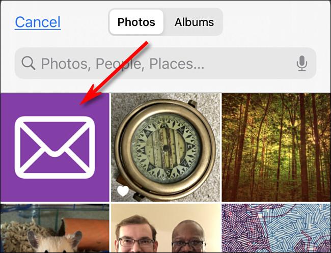 Appuyez sur l'image que vous souhaitez utiliser comme icône personnalisée dans Photos iPhone.