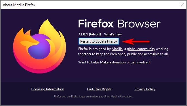 """Cliquez sur """"Redémarrez pour mettre à jour Firefox."""""""