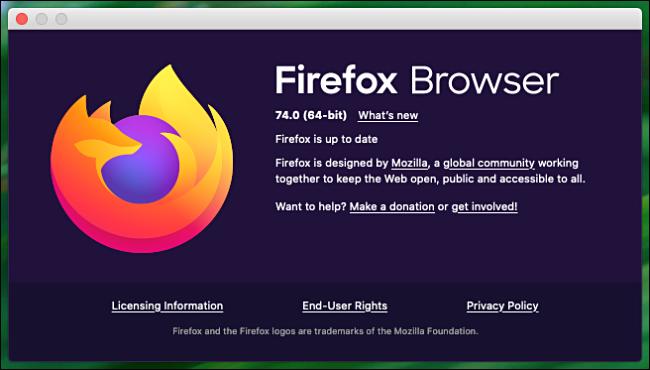 """le """"À propos de Firefox"""" fenêtre sur un Mac."""