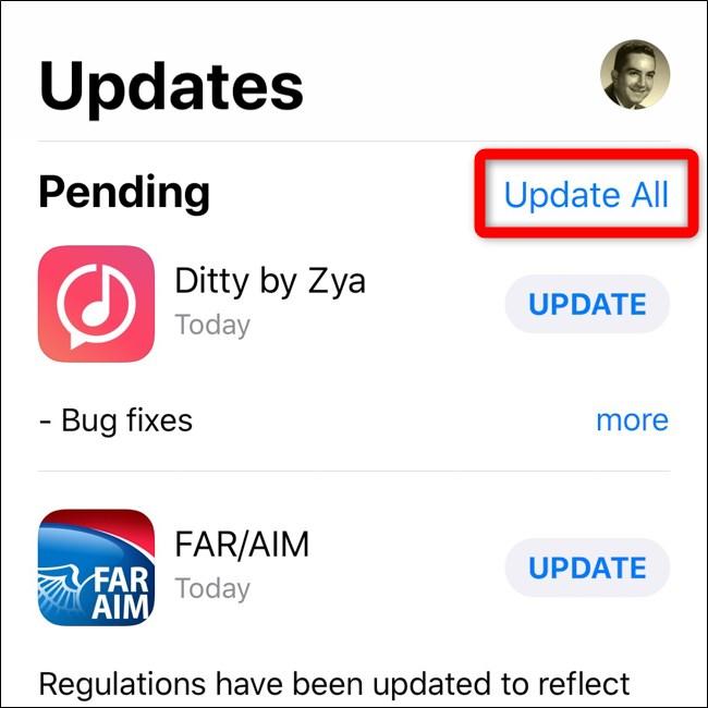 Apple iPhone iOS 12 App Store Sélectionnez Tout mettre à jour