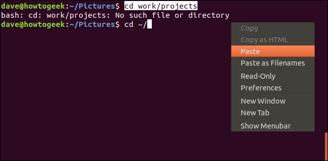 fenêtre de terminal avec menu contextuel et coller la sélection