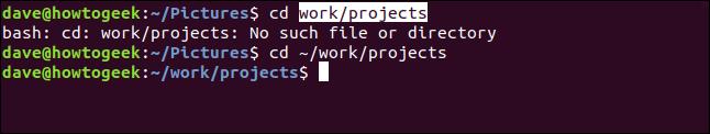 fenêtre de terminal avec un répertoire modifié obtenu par copier-coller