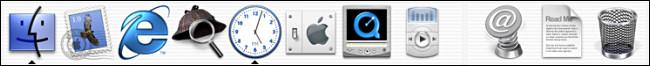 Le Dock sur la bêta publique de Mac OS X.