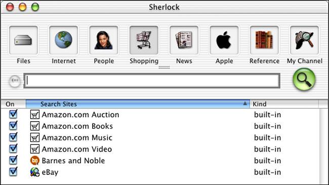 Une fenêtre de recherche Sherlock sur la bêta publique de Mac OS X.
