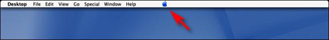 Le logo Apple au centre de la barre de menus sur Mac OS X Public Beta.