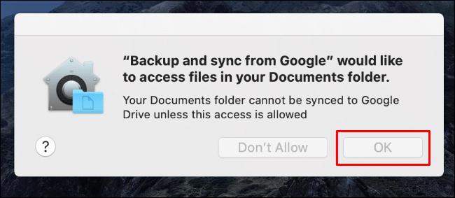 Cliquez sur OK pour autoriser l'accès de sauvegarde et de synchronisation à votre dossier de documents Mac