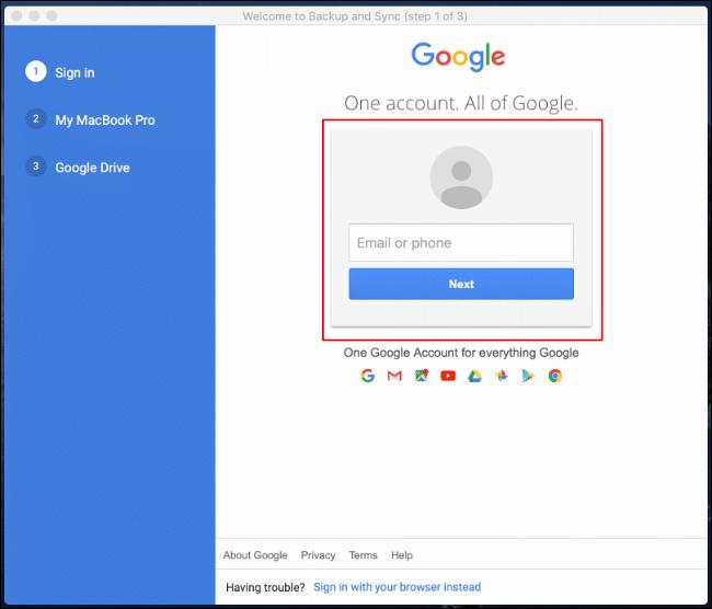 Connectez-vous à votre compte Google lors du premier lancement de Google Backup and Sync sur Mac