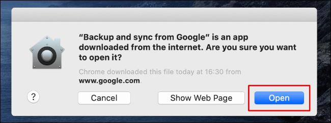 Cliquez sur Ouvrir pour permettre à la sauvegarde et à la synchronisation de Google Drive de se lancer sur votre Mac