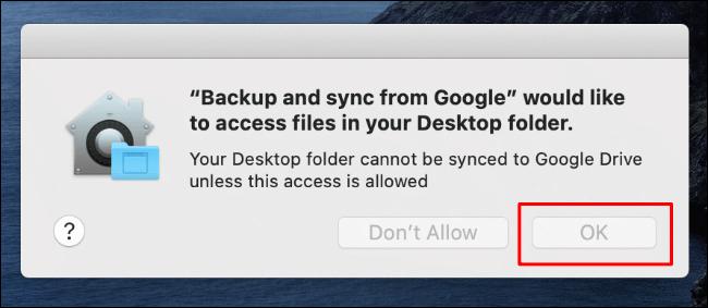 Cliquez sur OK pour autoriser l'accès de sauvegarde et de synchronisation aux fichiers du bureau