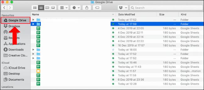 Le dossier Google Drive dans Finder sur Mac