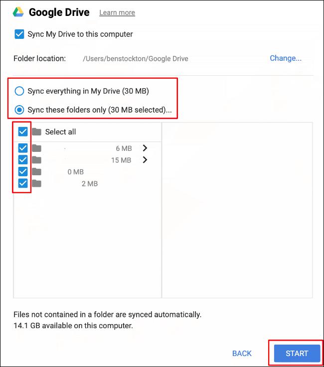 Sélectionnez les options de synchronisation de vos dossiers, puis cliquez sur Démarrer pour commencer la synchronisation des fichiers entre votre stockage Google Drive et votre Mac