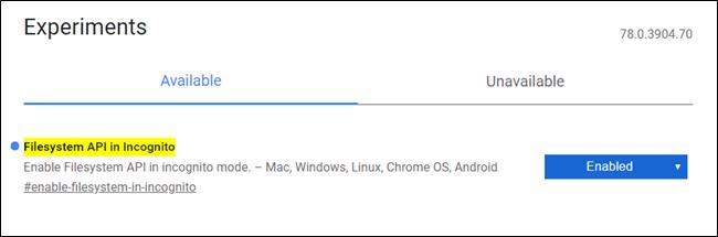 API du système de fichiers dans l'image de l'indicateur de navigation privée