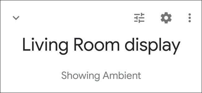 L'application Google Home affiche l'en-tête d'affichage du salon avec le texte