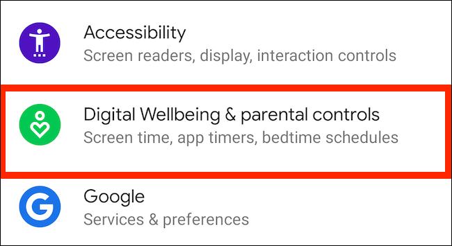 """Robinet """"Bien-être numérique et contrôle parental"""" dans les paramètres."""