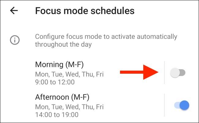 Appuyez sur n'importe quelle bascule pour activer un programme prédéfini pour le mode Focus.