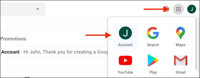 """Cliquez sur l'icône Menu en haut à droite, puis cliquez sur """"Compte."""""""