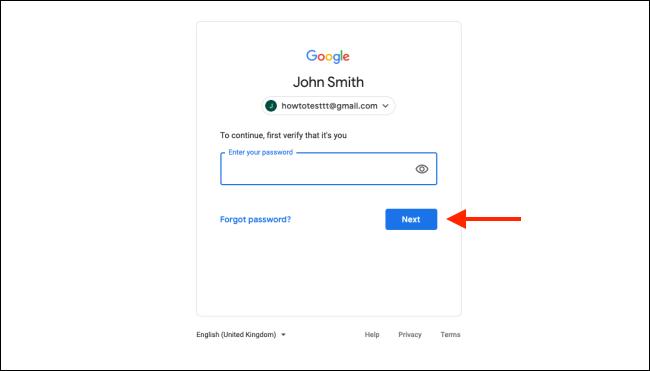 """Tapez votre mot de passe et cliquez sur """"Prochain."""""""