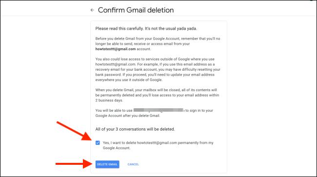 """Cliquez sur la case pour confirmer, puis cliquez sur """"Supprimer Gmail."""""""