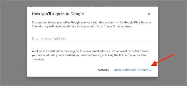 """Cliquez sur """"Envoyer email de vérification."""""""