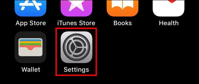 """Appuyez sur le """"Réglages"""" icône sur iPhone"""