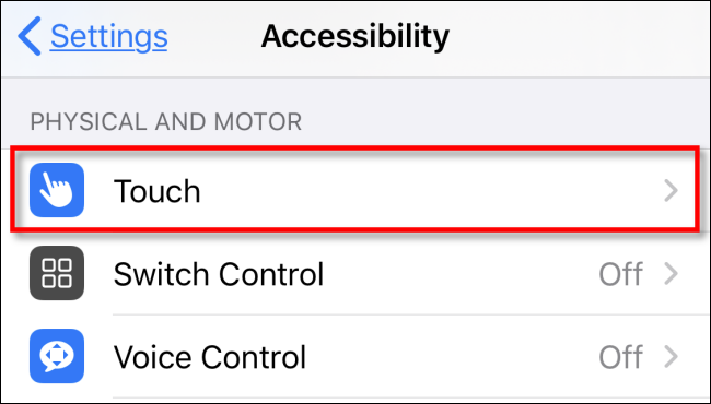 Appuyez sur Touch dans les paramètres sur iPhone ou iPad