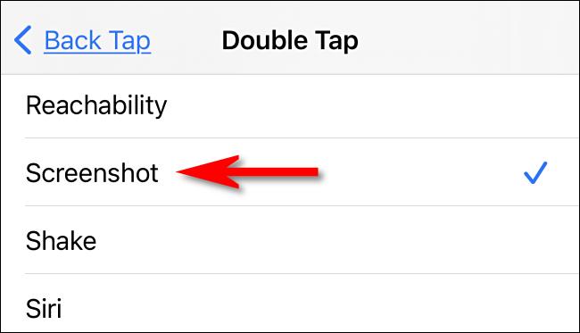 """Dans les paramètres Back Tap, sélectionnez """"Capture d'écran"""" sur iPhone."""