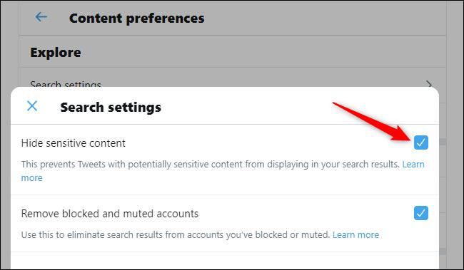Affichage du contenu sensible dans les recherches Twitter