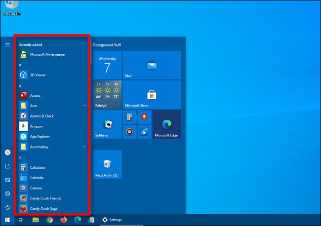 Un exemple de menu Démarrer de Windows 10 avec la liste des applications.