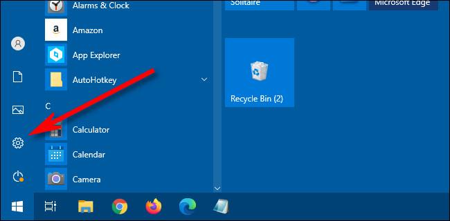 """Dans le menu Démarrer de Windows 10, cliquez sur le """"équipement"""" icône pour ouvrir les paramètres."""