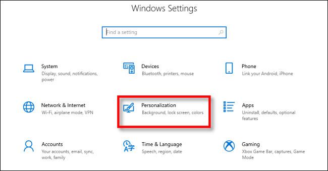 """Dans les paramètres de Windows 10, cliquez sur """"Personnalisation."""""""
