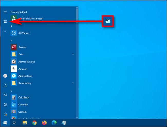 Dans le menu Démarrer de Windows 10, cliquez sur le bouton Tuiles épinglées