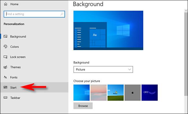 """Dans les paramètres de Windows 10, cliquez sur """"Début"""" dans la barre latérale."""