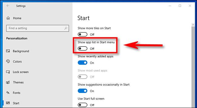 """Dans les paramètres de Windows 10, cliquez sur le """"Afficher la liste des applications dans le menu Démarrer"""" interrupteur pour l'éteindre."""