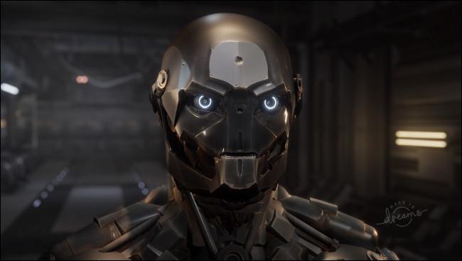 """Une vitrine de sculpture d'un robot en """"Rêves."""""""