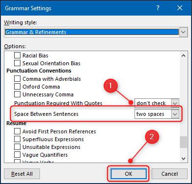 """le """"Paramètres de grammaire"""" panneau avec le """"Espace entre les phrases"""" option mise en évidence."""