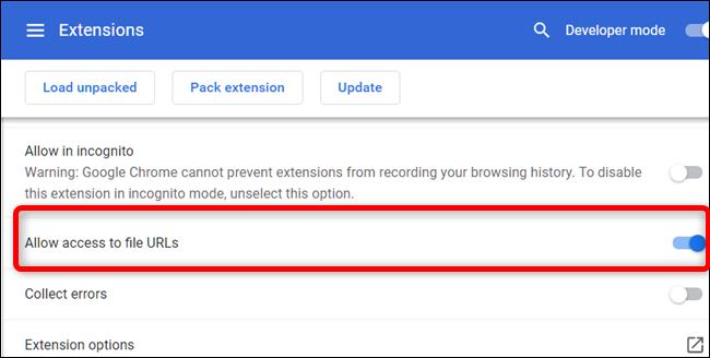 """Faites défiler jusqu'à ce que vous voyiez """"Autoriser l'accès aux URL de fichiers,"""" puis basculez-le en position On."""