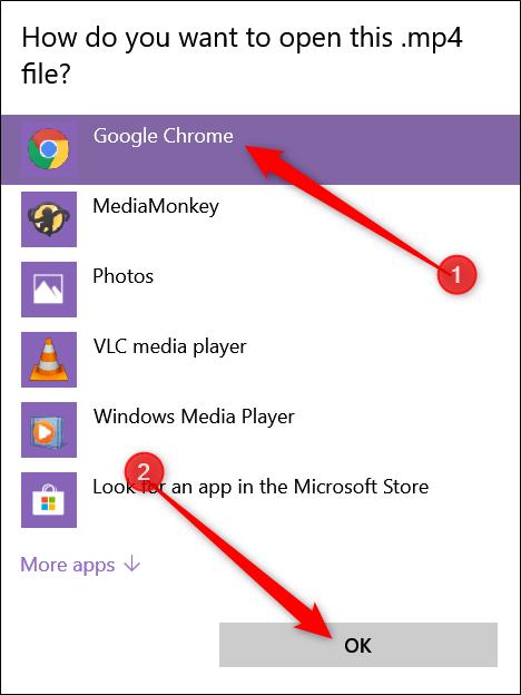 """Si vous ne le voyez pas dans la liste, cliquez sur """"Choisissez une autre application,"""" Cliquez sur """"Google Chrome"""" dans la fenêtre qui s'ouvre, puis cliquez sur """"D'ACCORD."""""""