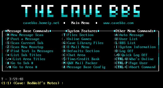 """""""La cave"""" Menu principal du BBS."""