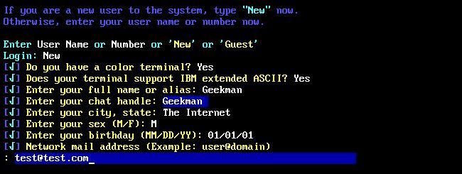 """Enregistrement de compte pour """"La cave"""" BBS."""