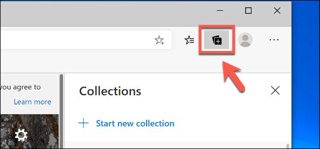 Cliquez sur l'icône Collections en haut à droite de la fenêtre Edge pour afficher le menu des fonctionnalités