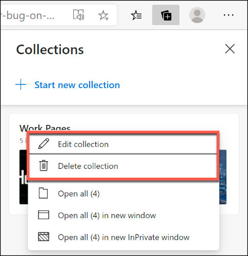 Cliquez avec le bouton droit sur une collection Microsoft Edge et cliquez sur Modifier la collection ou Supprimer la collection pour la renommer ou la supprimer