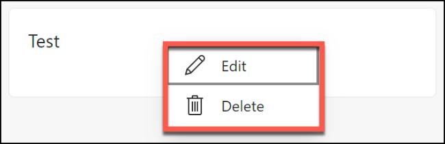 Les options pour supprimer ou modifier une note enregistrée dans une collection Microsoft Edge