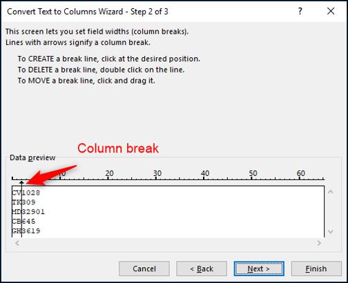 Insérer un saut de colonne dans le texte dans les colonnes