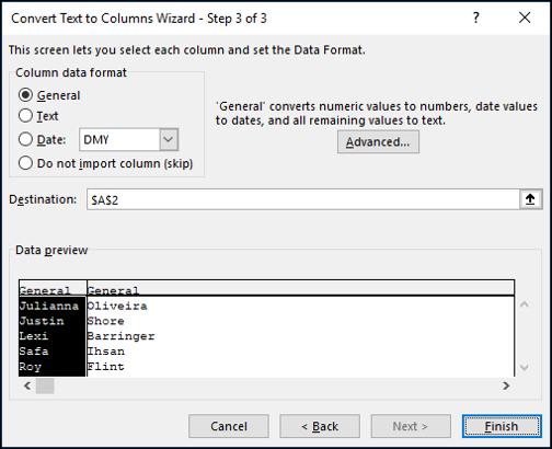 Étape 3 de l'assistant Text to Columns